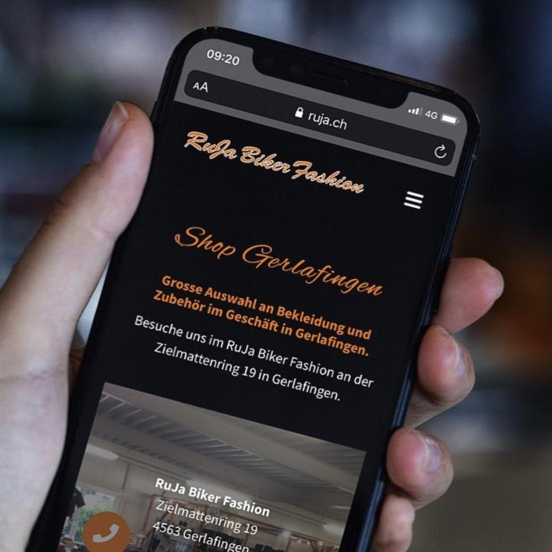 Webseite für RuJa Biker Fashion Gerlafingen