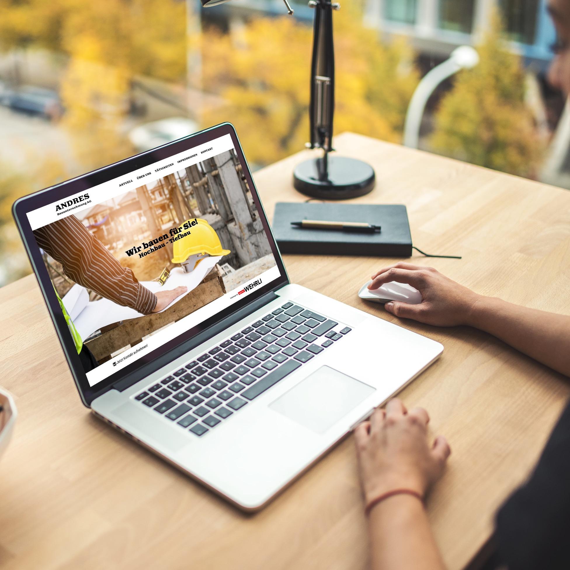 Webseite für Andres Bauunternehmung AG