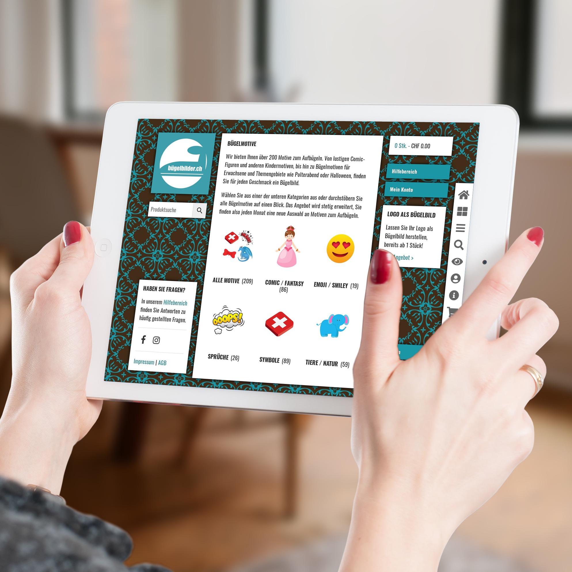Online Shop für Bügelbilder.ch