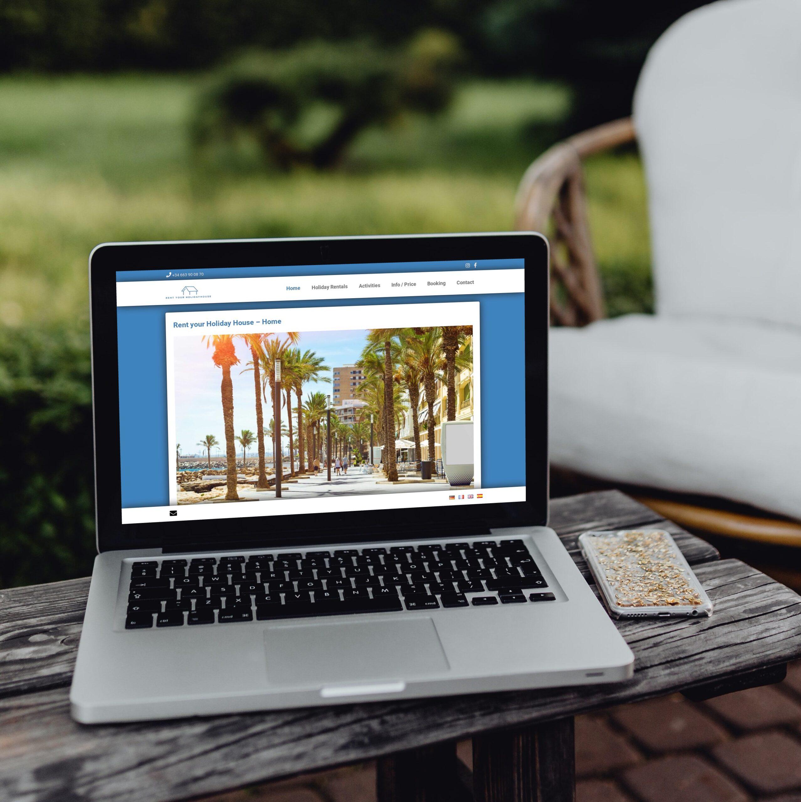 Webseite mit integriertem Buchungstool für Ferienhaus-Vermietung in Spanien.
