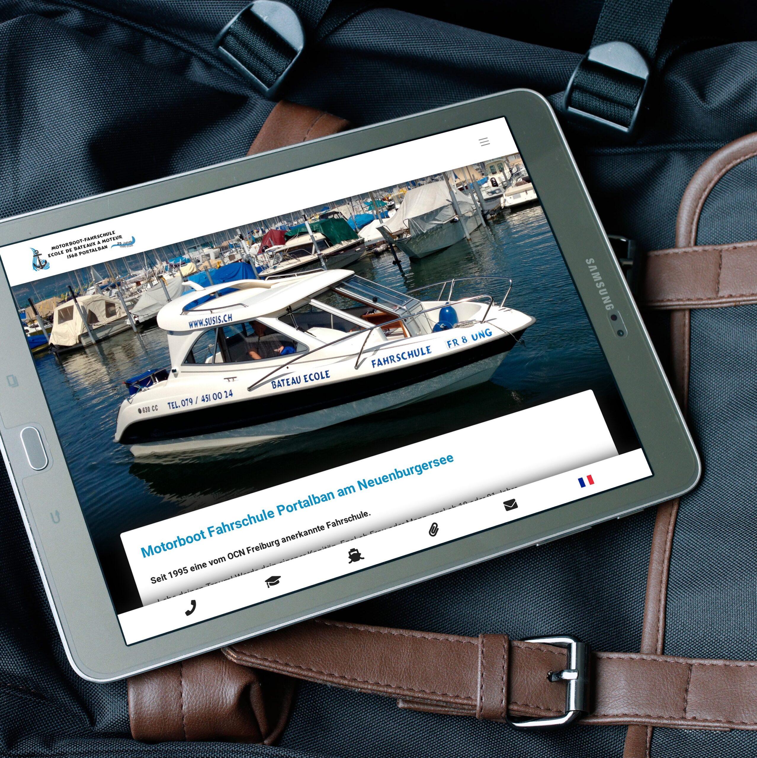 Webseite für Motorboot Fahrschule aus Portalban am Neuenburger See