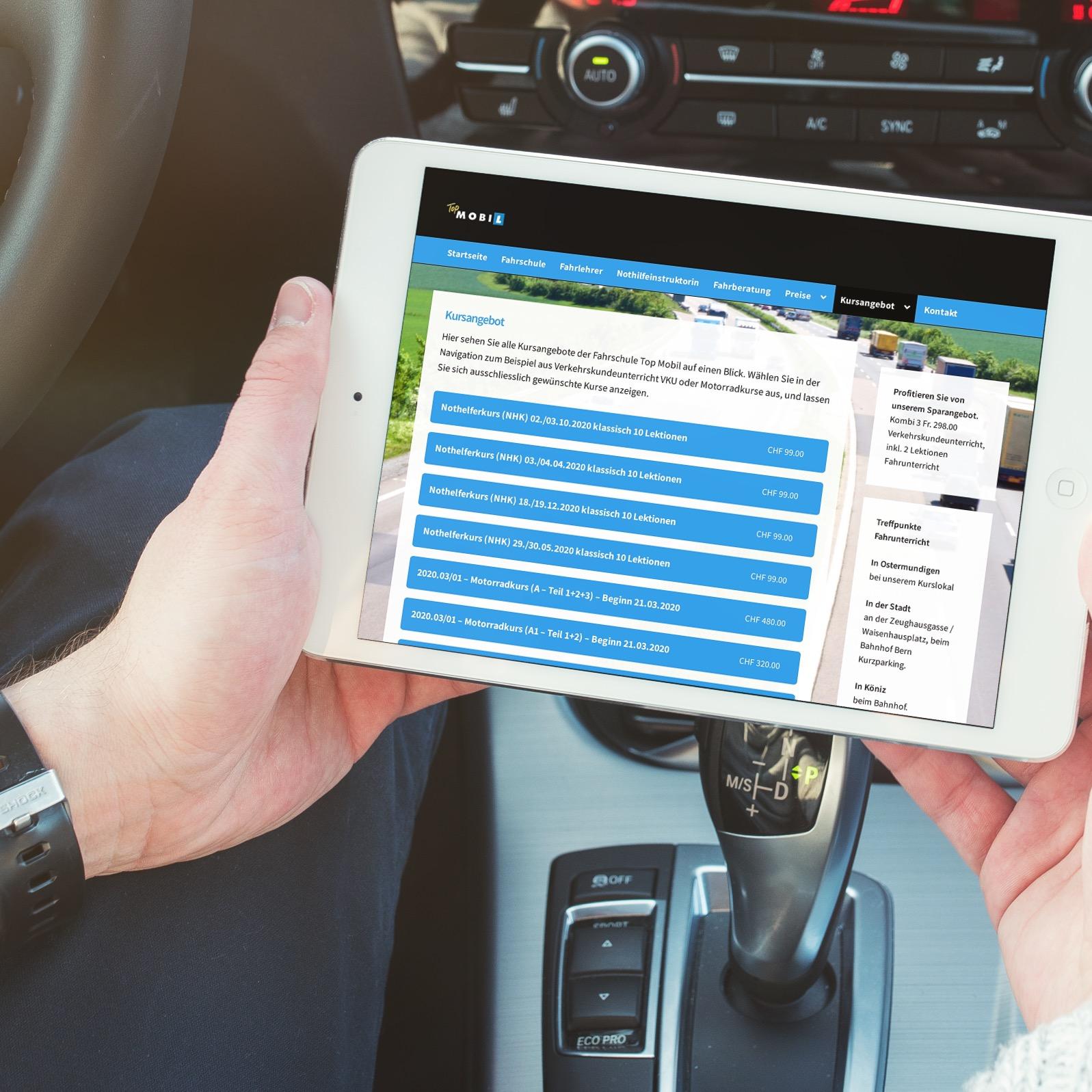 Webseite für Topmobil - die Fahrschule aus Bern